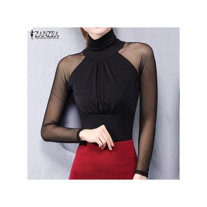 d0dc29c03939a2 ZANZEA Mesh Stretchy Tops Women Sexy See Through Sheer Sleeve Shirt Casual  Long Sleeve Slim Patchwork