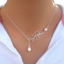 70612666c37 Women Simple Silver Tree Leaf Pearl Pendant Tassel Alloy Short Necklace