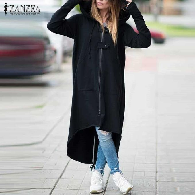 7a6bc8422f2 ZANZEA Hooded Jacket Long Sleeve Zipper Drawstring Asymmetric Loose Casual  Long Sweatshirt Black Draw Grey Women