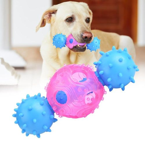 Safe Useful Hollowed Barbell Pet Biting Toy For Dog Cat Leaking Food
