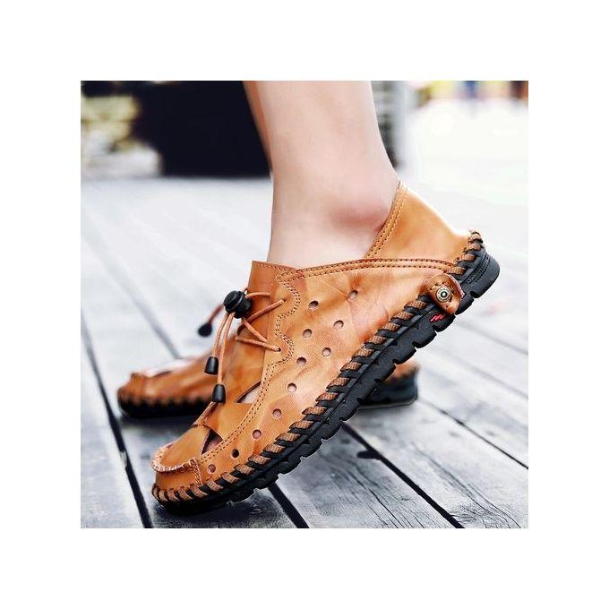 a2699a69f6af EUR 38-46 Mens Shoes Leather Men Sandals Summer Cool Gladiator Sandals