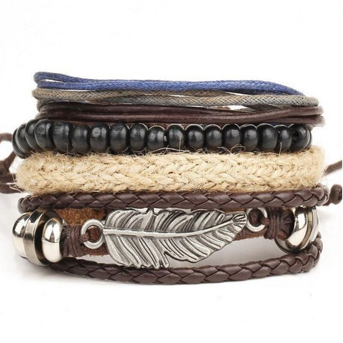 Sale On Tectores New Men S Braided Leather Stainless Steel Cuff
