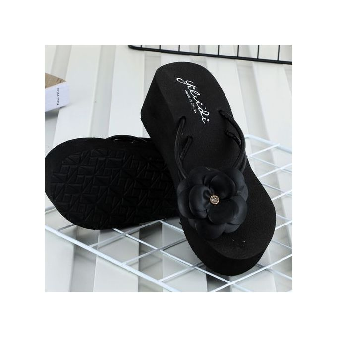 609cf135c ... Bliccol High Heel Shoes Summer Women Platform Bath Slippers Wedge Beach  Slope Flops Beach Slippers Shoes ...