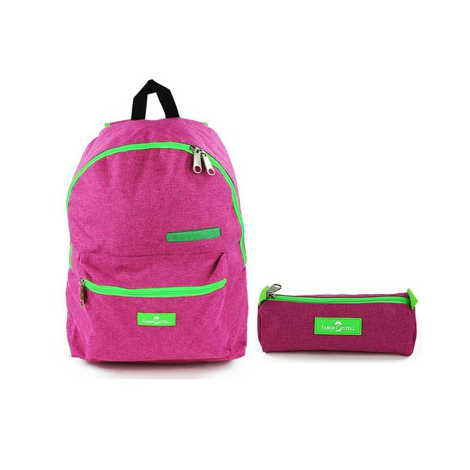 Faber Castell Bundle of School Backpack & Pencil Case - Pink & Green