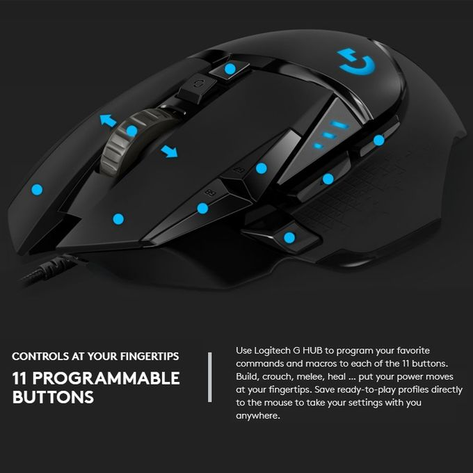Logitech G502 HERO Wired Gaming Mouse With 11 Buttons, Length: 2 1m