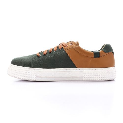 Multicoloured Lace Up Shoes - Green & Camel