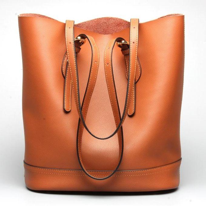 Ekphero Women Genuine Leather Handbag High End Tote Bag Bucket