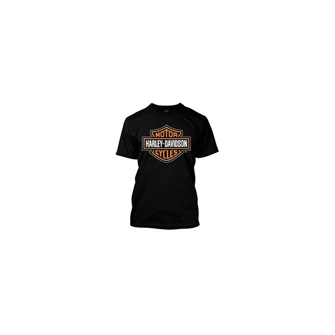 Harley-Davidson Mens Orange Bar & Shield Black T-Shirt 30290591, Harley Davidson