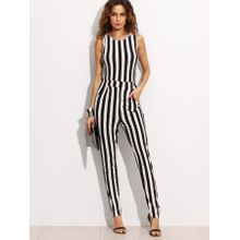 ee64e8e71edf Contrast Vertical Stripe Sleeveless Keyhole Back Jumpsuit