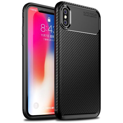 100% authentic 8fe07 2ffc2 IPhone X Silicone Case TPU Carbon Fiber Pattern Anti-knock Phone Back Cover  - Black