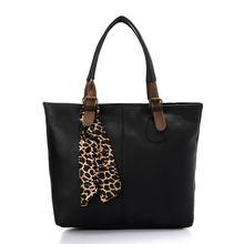 d238c1a68cd Chic Tote Women Hand Bag With Patterned Ribbonn - Black