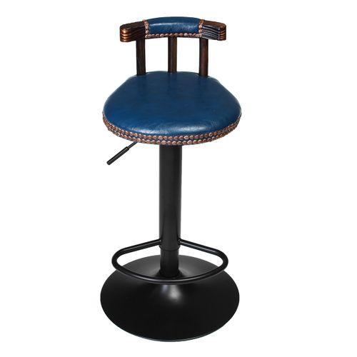 Industrial Retro Bar Stool Chair Metal Leather 360? Swivel Adjustable 250LBs