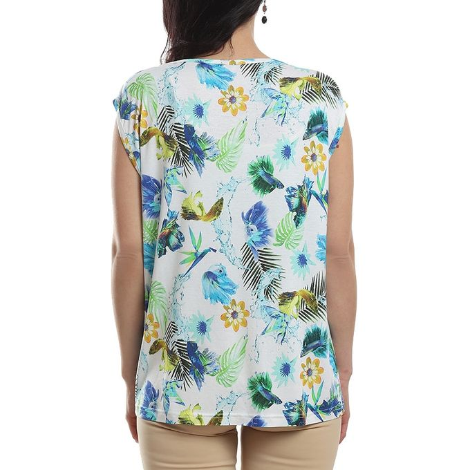 de60c201a عرض عيد ميلاد جوميا! تسوق Printed Casual Short Sleeves Top - White ...