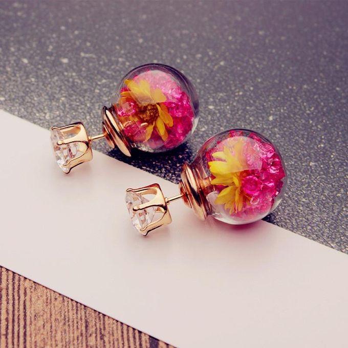 Trendy Colorful Rhinestone Glass Ball Flower Round Earrings Gift For Women