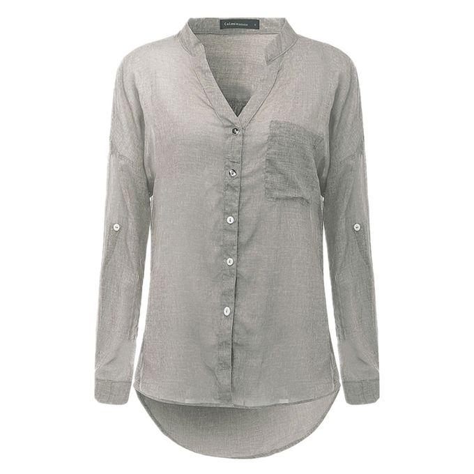 6a093750175 Womens V-neck Long Sleeve Casual OL Shirt Ladies Linen Tops Blouse Size 8-22