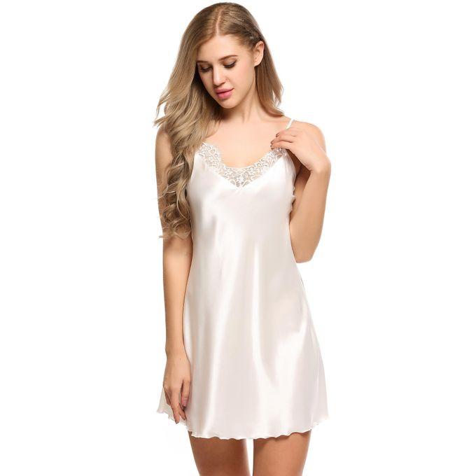 ff2e1b207652 Women Lace Patchwork Satin A-Line Hem Cami Nightgown Sleepwear Dress-White
