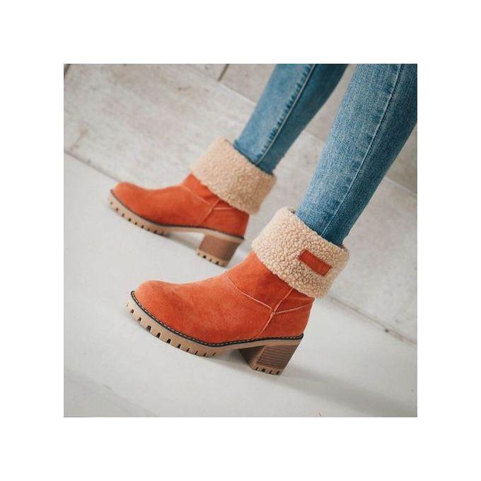 dbb5b2c3acec ... Jiahsyc Store Women s Ladies Winter Shoes Flock Warm Boots Martin Snow  Boots Short Bootie-Orange