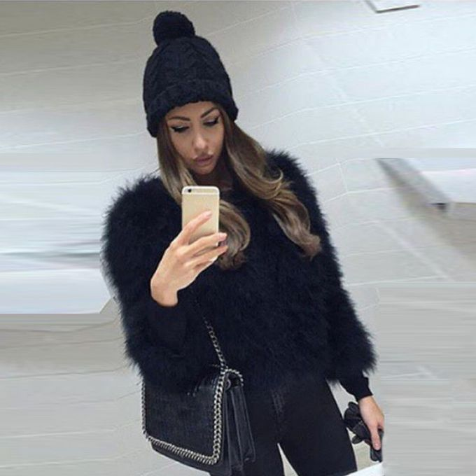 0f63f4bcbc1 ...  Fascinating Women Faux Fur Ostrich Feather Soft Fur Coat Jacket Fluffy  Winter Xmax ...