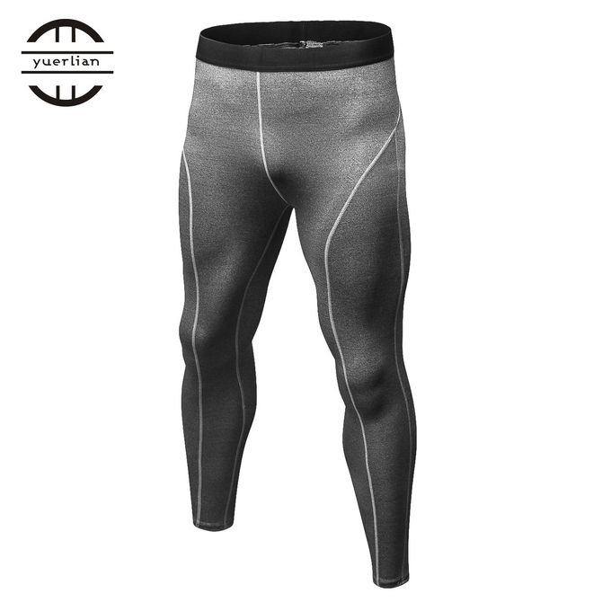 3589adafba7f Men Compression Pants Tights Solid Color Quick Drying Running Skinny  Leggings Gray