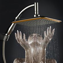 22218f9d75c23 9 Inch Square Thin Rotatable Top Rain Shower Head Stainless Steel Water  Saving Pressure Sprayer