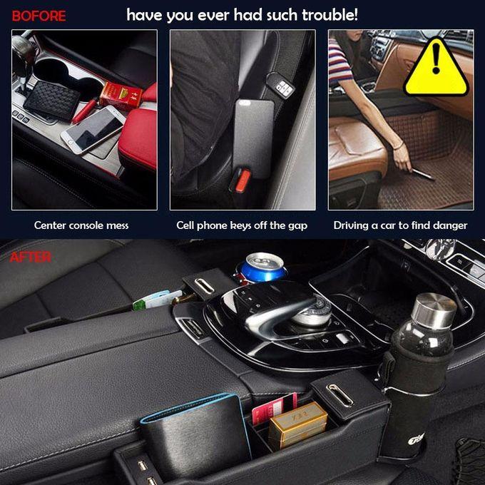 ... Car Seat Side Pocket Storage Box, Car Seat Filler Gap Organizer With 2 USB Charging ...