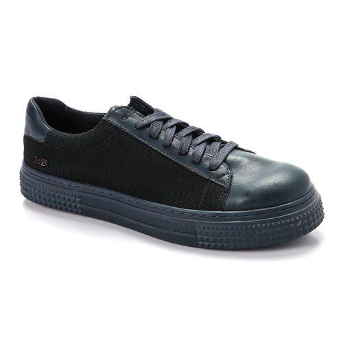 Plain Lace Up Sneakers - Blue