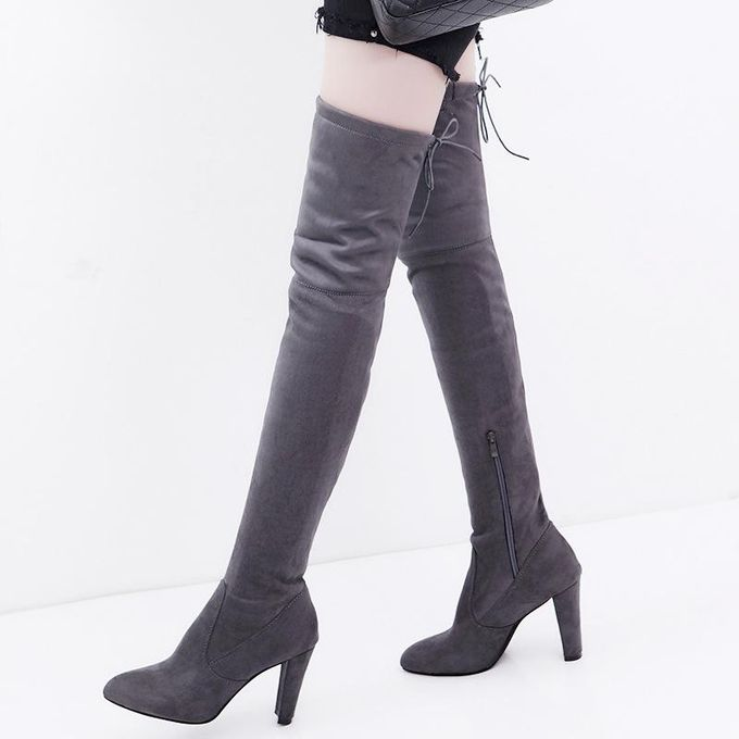 Classic Plain Stretch Zipper Thigh High Stiletto Heel Boots Shoes Adult Women