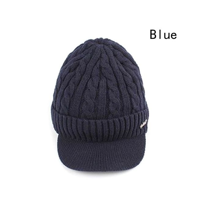 Mens Winter Slouchy Hat Knit Hat Plus Velvet Warm Cap Silver Circle Style Black