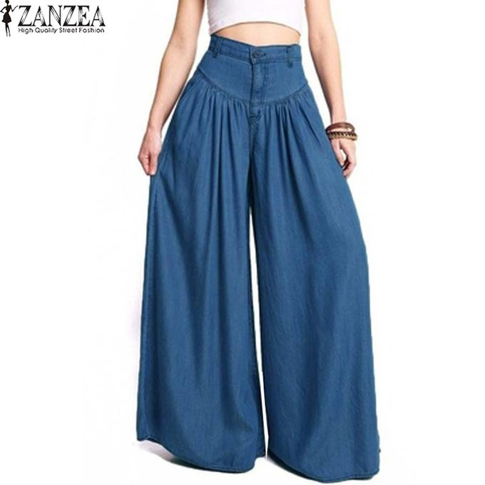 baae037f ZANZEA Women Fashion Black Denim Blue Trousers High Waist Pockets Wide Leg  Pants
