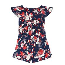 c0cd331a Girls Floral Off-Shoulders Jumpsuit - Navy Blue & ...