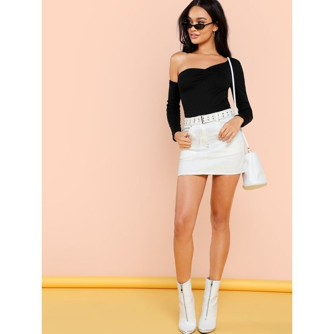 1a1d9810bb1 Asymmetrical Neck Ruched Front Skinny Bodysuit