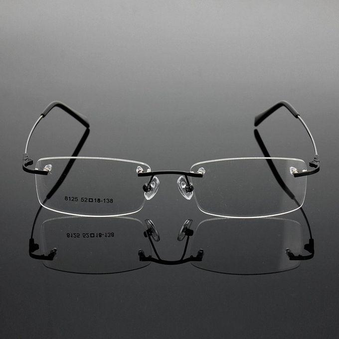ffba8c9675a6 Rimless Glasses Lightest Rx Optical Eyeglasses Memory Titanium Spectacles  Frame Black