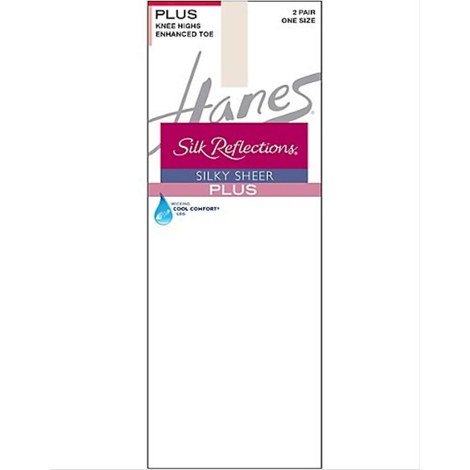 Hanes Silk Reflections Womens Plus-Size 2 Pack Knee High [Pearl, One Size]