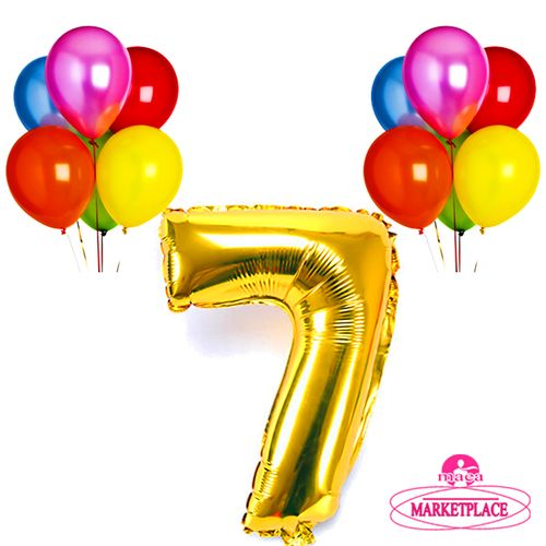 64a51d26a عرض عيد ميلاد جوميا! تسوق 32 Inch Number 7 Balloon - 11 Pcs - Gold ...