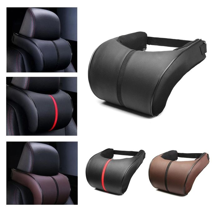 Adjustable PU Leather Memory Pillow Car Seat Head Neck Rest Headrest Cushion Pad –  مصر
