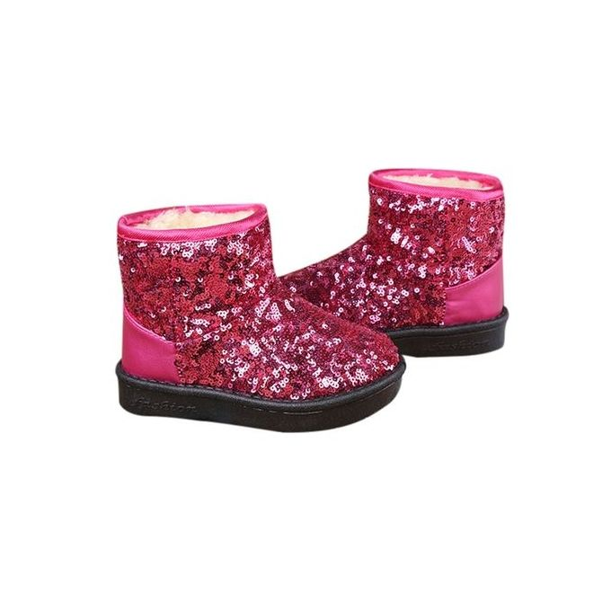 8e4524e788fd6 Infant Toddler Baby Girls Sequins Boots Boys Kids Winter Thick Snow Boots  Shoes- Hot Pink