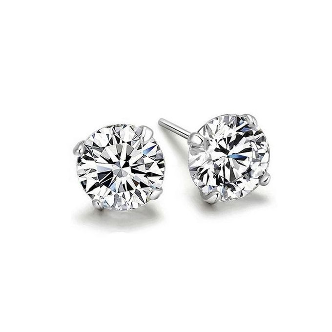021b9aabe Fovibery Women Solid 925 Sterling Silver Cubic Zirconia Round Stud Earrings