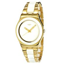 cd229bc71aa5b Swatch Women  039 s YLG122G Yellow Pearl Stainless Steel Watch – Gold White