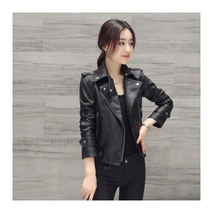 8b964524d Order Women's Leather Slimming Short Coat Motorcycle Pu Leather ...