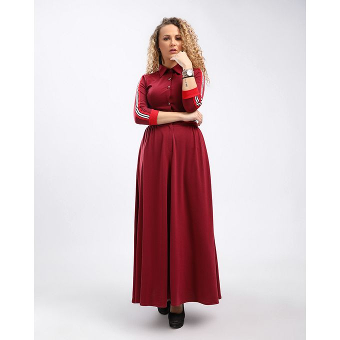 ecbf87d85871 Sale on Cotton Lined Sleeves With Hem Buttoned Burgundy Maxi Dress ...