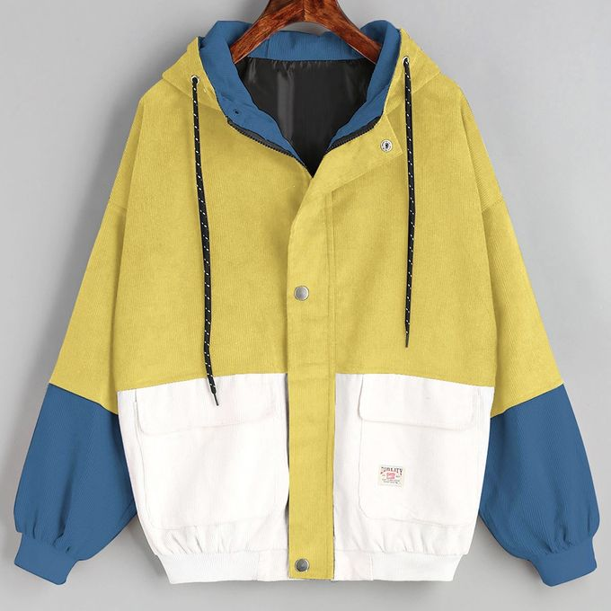 a2dd9135ba Africashop Caot Women Long Sleeve Corduroy Patchwork Oversize Jacket  Windbreaker Coat Overcoat