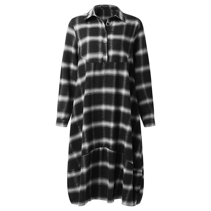 901e2b7d ZANZEA ZANZEA L-5XL Women Plaid Check Shirt Dress Oversize Buttons Turn  Down Midi Dress White