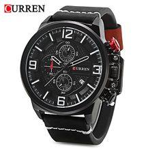 97697033b CURREN 8278 Male Quartz Watch Calendar Chronograph Men Wristwatch-Black