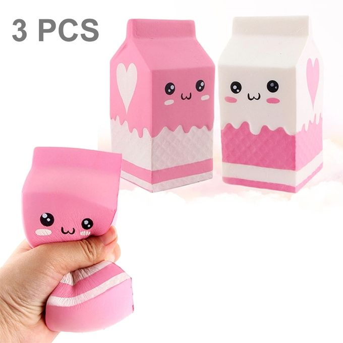 3 PCS Simulation Milk Box Shape Squishy Slow Rising Toy Slow Rebound PU Stress Reliever Squeeze Toy, Random Color Delivery –  مصر