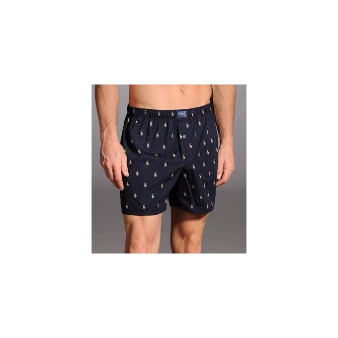 Allover Pony Polo Player Woven Cotton Boxer [Navy, Large]