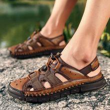 e44f3fd71 EUR Size 38-46 Men Sandals Handmade Cow Leather Sandals Outdoor Summer  Breathable Men Shoes