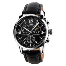 41390e3f1 SKMEI 9070 Waterproof Men Business Watch Male Quartz Wristwatch Chronograph  Black Leather Band & Black