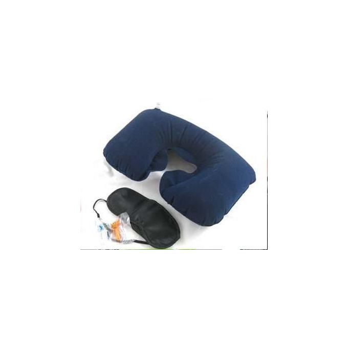 3 In1 Travel Set Inflatable Neck Air Cushion + Eye Mask + 2 Ear Plugs –  مصر