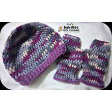 Handmade Set Of Hat  amp  Fingerless Gloves - Multicolored - Wool -  Suitable For Men f213238513e9
