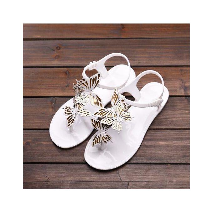 1ee92a10d2d9 Women s Summer Butterfly Sandals Soft Jelly Shoes Casual Beach Flats Flip  Flops